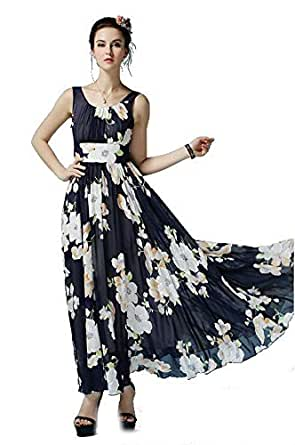 Round Neck Womens Sleeveless Formal Wedding Cocktail Evening Party Beach Casual Long Dress