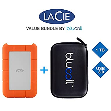 LaCie 2TB Rugged Thunderbolt External Hard Drive 9000489 PLUS blucoil Hard Drive Case