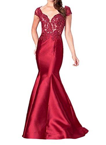Spitze Abendkleider Partykleider Rot Etuikleider Lang Kleider Meerjungfrau Dunkel mia Elegant Brau La Ballkleider Jugendweihe ICqHwXWx