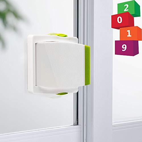[4 Pack] Sliding Door Lock, Childproof Safety Lock for Sliding Closet Cupboard Bathroom Kitchen Doors Windows by Kelamayi (White & Green) (Doors Thin Closet Sliding)
