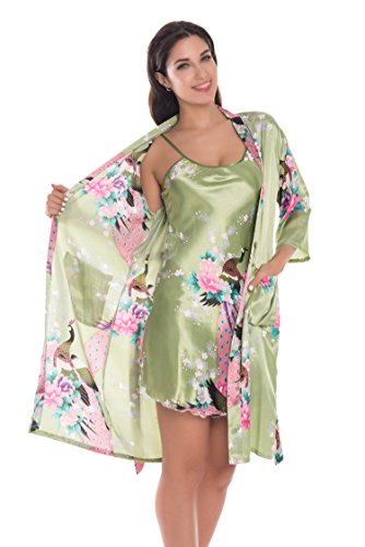 Racerback Silk Camisole - Joy Bridalc Women's Kimono Robe Gorgeous Loungewear 2PC Set Sleepwear Camisole & Robe, Olive S