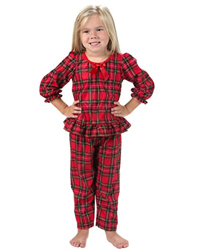 Laura Dare Girls Plaid Long Sleeve Pajamas