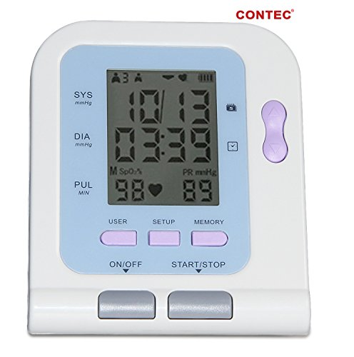 CONTEC Fully Automatic Wrist Upper Arm Blood Pressure Cuff Monitor Fits adult arms Free Software