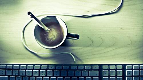 No Escritorio De Teclado De Cafe Pintura para Ninos Adultos Set Pintura Al Óleo Digital DIY Interes Ocio Regalo