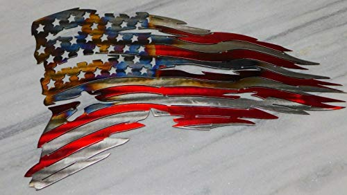 (Tattered American Flag Metal Art Wall Decor 24