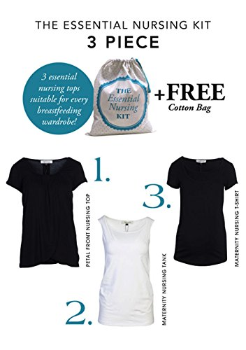 Angel Maternity Nursing Kit: Breastfeeding Clothes, 3 ultra-soft Maternity T Shirts for the Nursing Mom - M