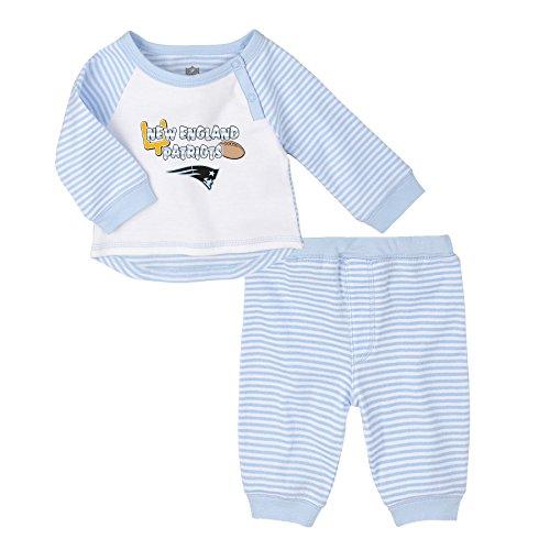 Layettes Two Piece - NFL Newborn Blue Scrimage 2 Piece Shirt and Pants Set, New England Patriots, Blue, 9 Months