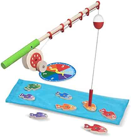Melissa & Doug Catch & Count Wooden Fishing Game With 2 Magnetic Rods