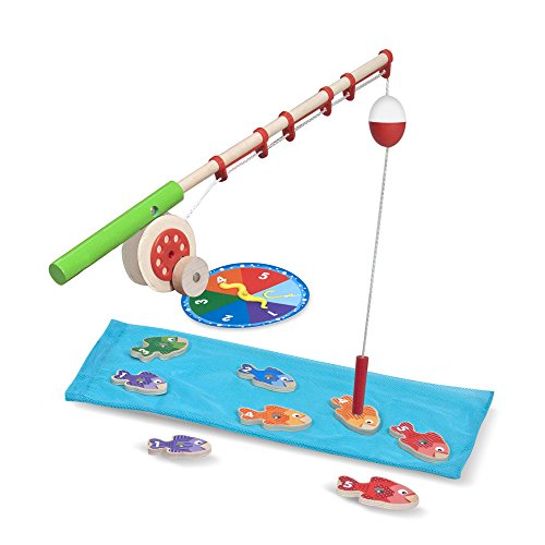 Melissa & Doug Catch & Count Wooden Fishing Game, Developmental Toy, 2 Magnetic Rods, 7.25
