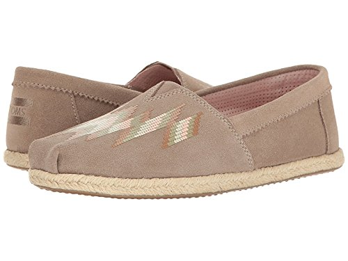 TOMS Women's Seasonal Classics Desert Taupe Suede Zigzag Print Loafer (Print Suede Flats)