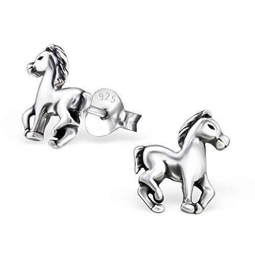925 Sterling Silver Hypoallergenic Horse Stud Earrings for Girls 26814