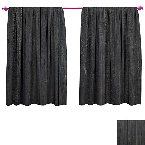 Dark Grey Window Curtain Fabric Wood Fence Texture Image Rough Rustic Weathered Surface Timber Oak Planks Drapes for Living Room W63 x L72 Dark Grey Blue