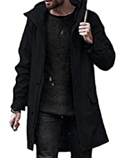 Howme-Men Solid Colored Zip Parka Jackets Loose Hooded Trench Coat
