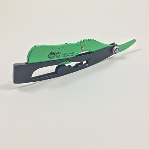 Professional Straight Shaving Razor Barber Edge Stainless Steel with FREE Blades (Black/Green)