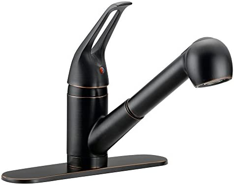 Designers Impressions 651755 Oil Rubbed Bronze Single Handle Kitchen Faucet – Kitchen Sink Faucet with Pull-Out Sprayer