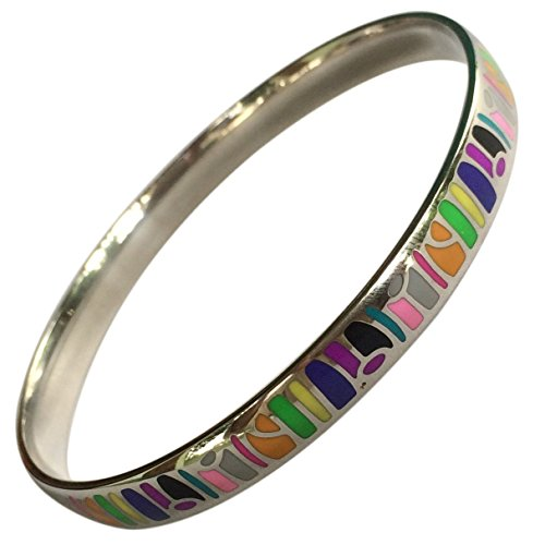 EverKid Bangles Bracelets Elegant Fashion Jewelry Multicolored Enamel Bangle - Stainless Steel - 3 Color Variations - Perfect Gift for Mom on Mother Day - Charming Birthday Gift for Teens, Girls in Gift Jewelry Box (Set Enamel Bangle)