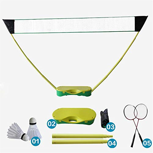(Portable Folding Badminton Set, with Badminton Racket, 3 in 1 Outdoor Tennis Badminton Volleyball Net, Physical Education Motion)