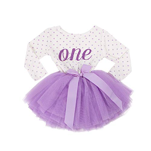 Grace & Lucille Purple Polka Dot Long Sleeve Baby Birthday Dress (Purple, 6-12 ()