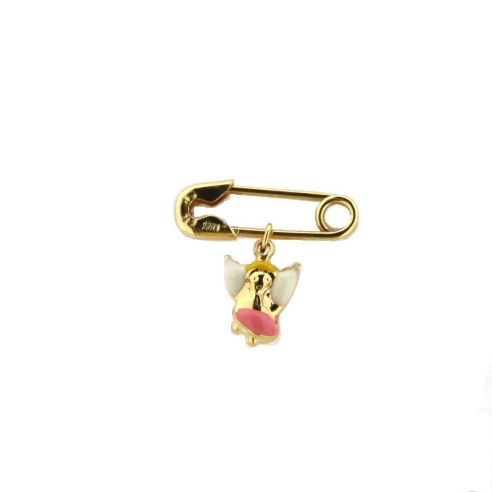 18K Yellow Gold Pink Enamel Angel Pin (17mm X 5mm/6mm Angel)