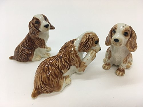 Cavalier King Charles Spaniel Ceramic Handmade Figurine Dog Animals Set Decor