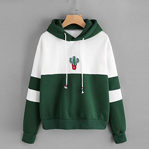 pour Sweat Imprimé à Vert et Beikoard Femmes Sweat Pullover Tops Cactus à Capuche Manches Chemisier Longues Shirt Hooded qxBPz1x