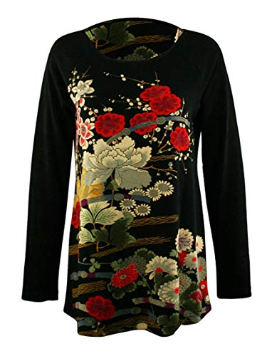 - Moonlight - Asian Garden, Oriental Print Scoop Neck Asian Style Womens Fancy Top