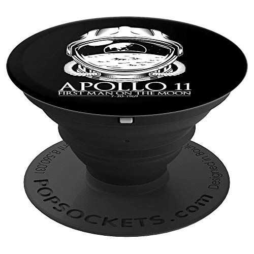 Apollo 11 First Moon Man Astronaut Space Helmet Black Stand - PopSockets Grip and Stand for Phones and Tablets
