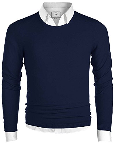 MOCOTONO Men's Long Sleeve Crew Neck Pullover Knit Sweater Navy - Navy Sweater Crewneck