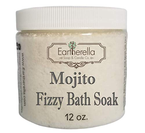 (Naked MOJITO scented Fizzy Bath Soak with Epsom salts, Large 12 oz jar)