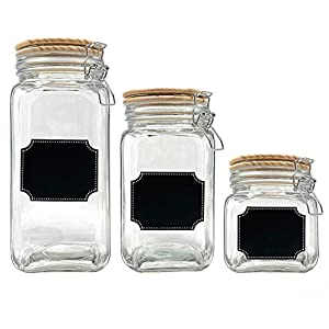 Glass Canister Jars with Airtight Wood Lid and Chalkboard Labels, Set of 3 Clear Containers for Farmhouse Kitchen Countertop and Pantry Food Storage (58 oz, 42 oz, 26 oz)