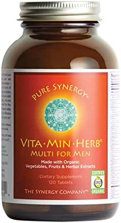 Pure Synergy VitaMinHerb (120 Tablets) Men's Complete Multivitamin Made w/Organic Fruits, Veggies, Herbs