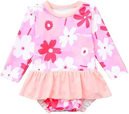ebdd26fe64f TiTCool Toddler Baby Girls Long Sleeve One Piece Swimsuit Floral Printed  Ruffle Swimwear Bathing Suit