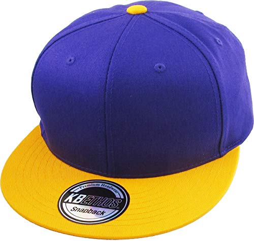(KNW-1467 PUR-GLD Cotton Snapback Solid Blank Cap Baseball Hat Flat Brim)