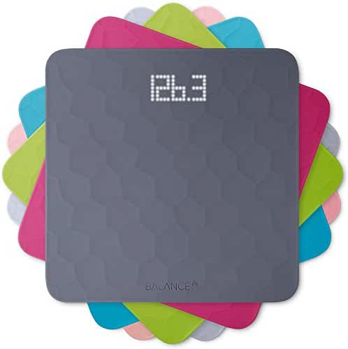 Balance Silicone Digital Bathroom Scale, Measures Body Weight, Large Precision Glass Top, Accurate Backlit Shine Through Display (Scale + Slate Gray Top)