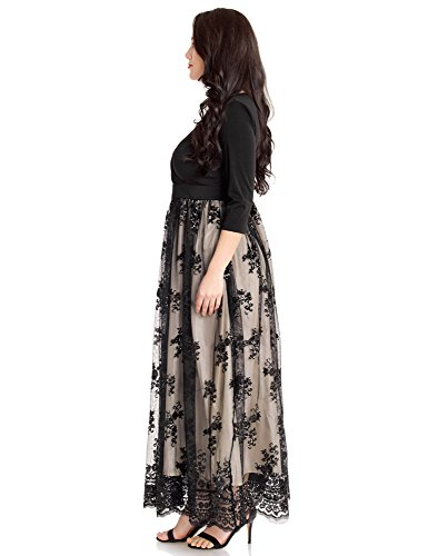 8380f34fde4 ... Plus Size Sequin 3 4 Sleeves Evening Gown Party Long Maxi Dress  Champagne Black Size 24W.   