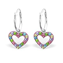 Children's Stering Silver Heart Earrings with Crystal