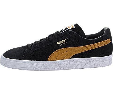 PUMA Men's Suede Classic Fashion Sneaker, Puma Black-inca Gold, 8.5 D(M) US