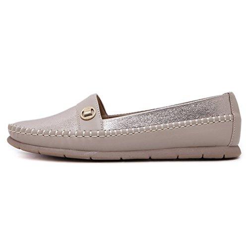 Weenfashion Mujeres-pull-on Round Cerrado-zapatos Del Dedo Del Pie-zapatos Con Decoración Albaricoque (metalspike)