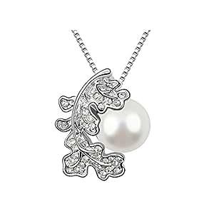 DEPOT TRESOR Collar ficha chapado en oro blanco, perla nacarada Swarovski, patines, color gris