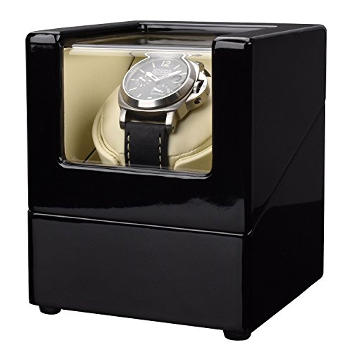 Zeiger Single Watch Winder for Large Watch Box Case with Quiet Automatic Japanese Mabuchi Motor Piano Paint s004 (Case Winder Watch Box)