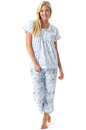 (Casual Nights Women's Short Sleeve Embroidered Floral Capri Pajama Set - Blue - 4X-Large)