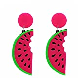 QIHUOKEJU Hip Hop Punk Long Earring Fashion Style Summer Candy Big Acrylic Watermelon Shape Female Drop Earrings