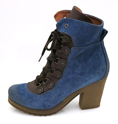 Boots Boots Boots Ankle Boots Leather Leather Blue Combat Ankle Isabelle Shoes Leather 5992 5BwFqxI