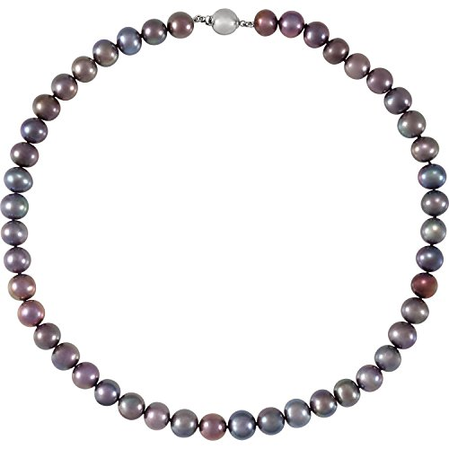 Freshwater Cultured Pearl Black - 925 Sterling Silver Hypoallergenic 18