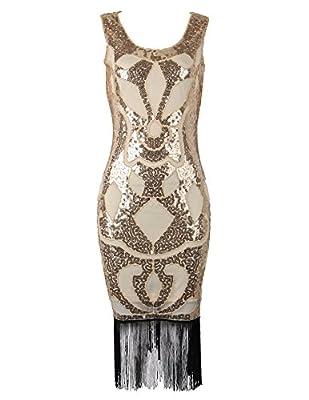 Flapper Girl Women's 1920's Vintage Gatsby Beaded Sequin Art Nouveau Deco Flapper Dress