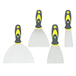 4 Pieces Stainless Stell Drywall Taping Knives Set,1.5/3/4/6 Inch Putty Knives, Wall Scrapers with Comfortable and Anti-slip Handle.