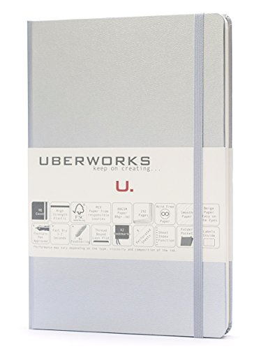 UBERWORKS Tehnik Classic Hardcover Dotted Notebook | Stay Organized | Premium Writing, All Purpose, Bullet Journal, Planner, Organizer, BuJo | 192 A5 Dot-grid Pages | Metallic Metal Silver-Chrome -
