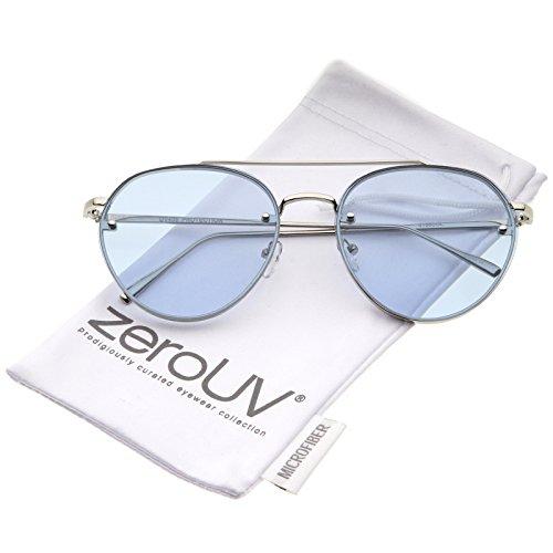 zeroUV - Modern Slim Temples Brow Bar Rimless Colored Flat Lens Aviator Sunglasses 59mm (Silver / - Lens Colored