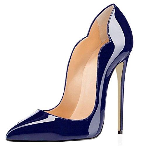 Donna Heels Chiuse 12CM Scarpe tacco Animale Scarpe Scarpa Davanti Pattern 2 da Blu High ELASHE Ritaglio col w0EfY01