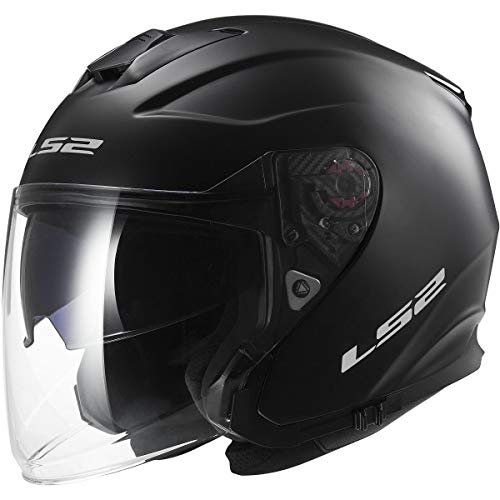 LS2 Helmets Infinity Solid Open Face Motorcycle Helmet with Sunshield (Matte Black, Medium)